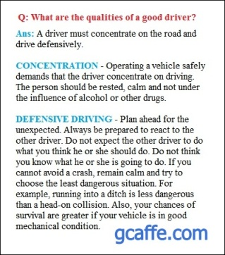 Qualities of a good driver