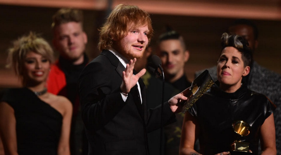 Ed Sheeran receives the award for the Song of the year for 'Thinking Out Loud'