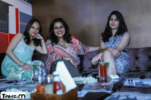 Namrata Mamak and Amrita Verma, the curator of The Egg art gallery, with a guest at Collector's Affair at Taksim.